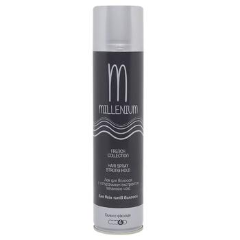 Лак Millenium French Collection з екстрактом зеленого чаю для всіх типів волосся сильна фіксація 250мл - купити, ціни на Метро - фото 1