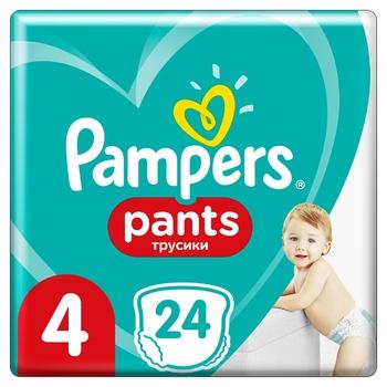Подгузники-трусики Pampers Pants 4 для детей одноразовые 9-15кг 24шт