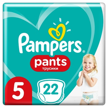 Подгузники-трусики Pampers Pants 5 для детей одноразовые 12-17кг 22шт