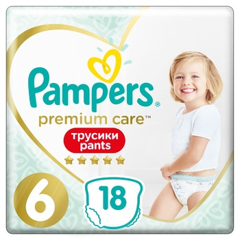 Pampers Premium Care Pants Size 6 Extra Large Diapers 15+kg 18pcs - buy, prices for Auchan - photo 1