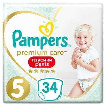 Подгузники-трусики Pampers Premium Care Pants размер 5 Junior 12-17кг 34шт
