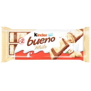 Вафли Kinder Bueno White с молочно-ореховой начинкой покрытые белым шоколадом 39г - купить, цены на Ашан - фото 1