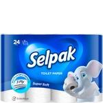Бумага туалетная Selpak Super Soft белая трехслойная 24шт