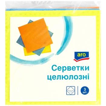 Салфетки целлюлозные Aro влаговпитывающие 3шт - купить, цены на Метро - фото 1