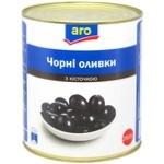 Оливки черные Aro с косточкой 2800г - купить, цены на Метро - фото 1