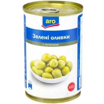 Оливки зелені Aro з кісточкою 314г - купити, ціни на Метро - фото 1