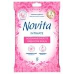 Серветки вологі Novita Intimate Пребіотик біолін  для інтимної гігієни 15шт