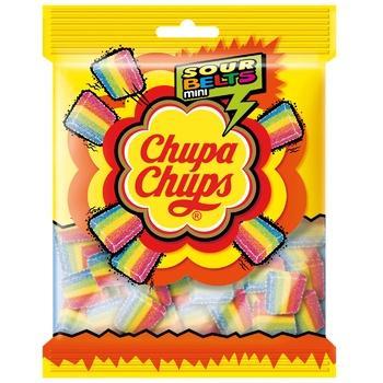 Мармелад жевательный Chupa Chups Sour Belts Mini с фруктовым вкусом 150г