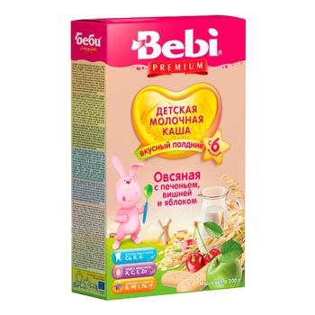 Каша молочная Bebi Premium для полдника овсяная с печеньем вишней и яблоком 200г