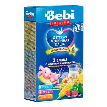 Каша детская молочная Беби Премиум Три Злака с малиной и мелиссой для сладких снов с пребиотиками с 6 месяцев 200г