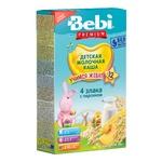 Каша Bebi Premium молочная 4 злака со сливками и персиком для детей с 12 месяцев 200г