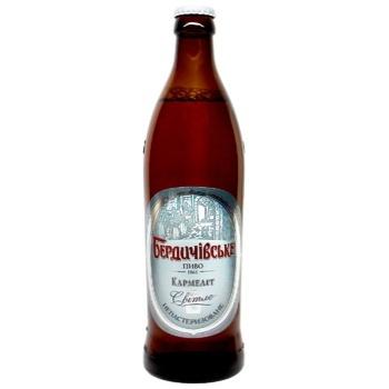 Пиво Бердичевское Кармелит светлое непастеризованное 3.9%об. стеклянная бутылка 500мл Украина