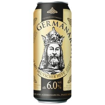 Пиво Germanarich світле пастеризоване з/б 0,5л 6% - купити, ціни на Восторг - фото 1