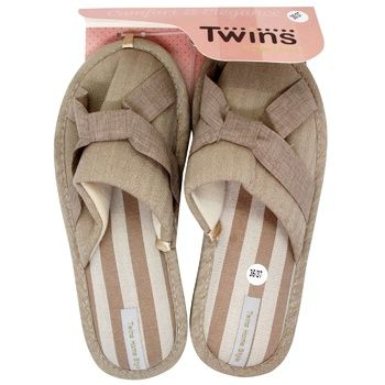 Тапочки Twins Elegant женские домашние бежевые 36-37р