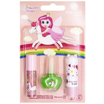 Набір Ruby Rose Princess dream Лак для нігтів 5,5г + Помада-бальзам для губ 2,6г + Бальзам для губ 2,3г №2