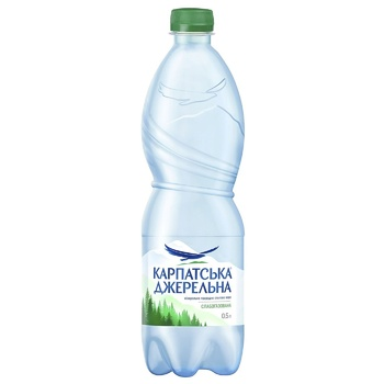 Light sparkling mineral water Karpatska Dzherelna plastic bottle 500ml Ukraine