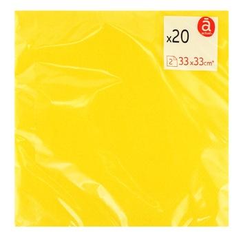 Салфетки Actuel бумажные двухслойные желтые 20шт 33x33см
