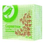 Серветки Ашан паперові одношарові зелені 85шт
