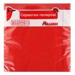 Серветки Ашан паперові тришарові червоні 33*33см 20шт