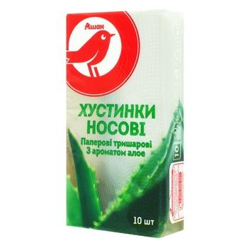 Платки носовые Ашан трехслойные с ароматом алоэ 10шт - купить, цены на Ашан - фото 1