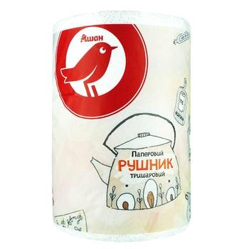 Рушник Ашан паперовий тришаровий - купити, ціни на Ашан - фото 1