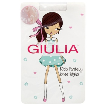 Giulia Children's Knee Socks Bianco/Pink