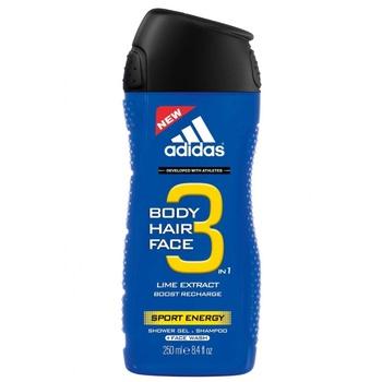 Гель для душа, шампунь и средство для умывания Adidas Sport Energy 3в1 для мужчин 250мл