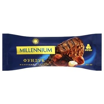 Мороженое Рудь Millennium молочный шоколад-фундук эскимо 80г