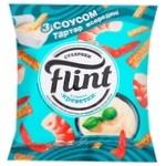 Сухарики Flint зі смаком креветок 80г + соус тарттар 15г