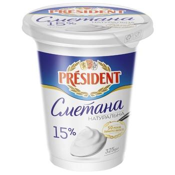 Sour cream 15% President 325g