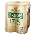Пиво Львовское 1715 светлое пастеризированное ж/б 4.7% 4шт 0.5л