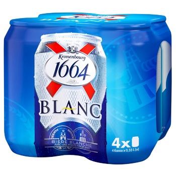 Пиво Kronenbourg 1664 Blanc світле нефільтроване 4шт 4,8% 0,33л