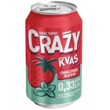 Kvas Taras Crazy Kvas Taste of Wild Strawberry & Mint 0,33l