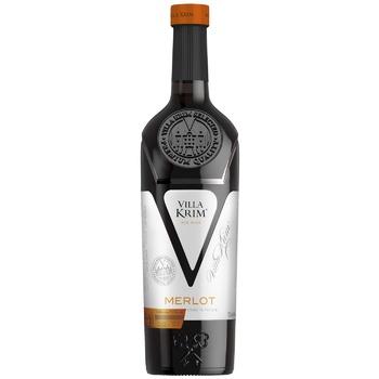 Вино Villa Krim Мерло сухое красное 9,5-13% 0,75л - купить, цены на СитиМаркет - фото 1