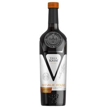 Вино Villa Krim Chevalier Rouge красное полусладкое 13% 0,75л - купить, цены на Метро - фото 1
