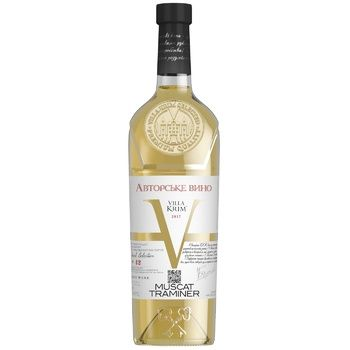 Вино Villa Krim Мускат-Трамінер біле напівсолодке 9-13% 0,75л - купити, ціни на Таврія В - фото 1