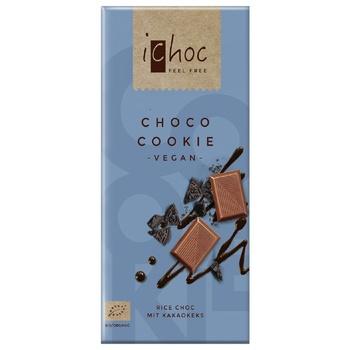 Шоколад iChoc с кусочками печенья веганский органический 80г