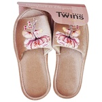 Twins HS-VL Domestic Velor with Sticker Women's Slippers Size 36-37