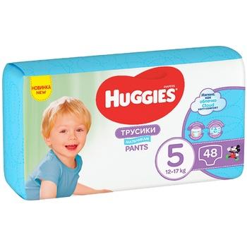 Трусики-подгузники Huggies Pants 5 Mega 13-17 кг для мальчиков 48 шт - купить, цены на Ашан - фото 1