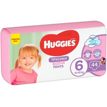 Трусики-підгузки Huggies Pants 6 Mega 15-25 кг для дівчат 44 шт