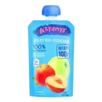 Karapuz Apple-peach Puree for Children from 5 Months 100g - buy, prices for CityMarket - photo 1