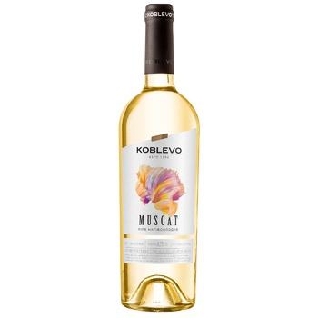 Вино белое Коблево Мускат виноградное ординарное столовое полусладкое 12% 750мл - купить, цены на СитиМаркет - фото 1