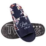 Тапки домашні жіночі Twins 4410 Love р.36/37 синій войлочні з відкритим носком