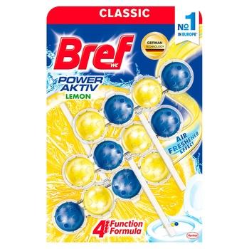 Блок для унитаза Бреф Сила актив лимонная свежесть 3х50г
