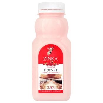 Бифидойогурт Zinka из козьего молока со вкусом клубники 2,8% 300г - купить, цены на Ашан - фото 1