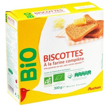 Сухари Auchan Bio 34шт 300г