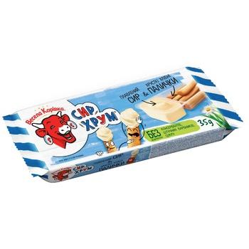 Сыр Веселая Коровка СырХрум плавленый с хлебными палочками 45% 35г