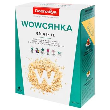 Пластівці вівсяні Dobrodiya WOWсянка Original з цільного зерна 500г - купити, ціни на CітіМаркет - фото 2