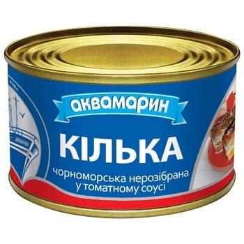 Килька Аквамарин обжаренная в томатном соусе 230г - купить, цены на Ашан - фото 1