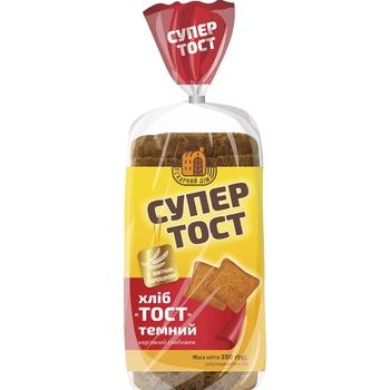Хліб Київхліб Супер Тост темний нарізаний 350г - купити, ціни на Метро - фото 1